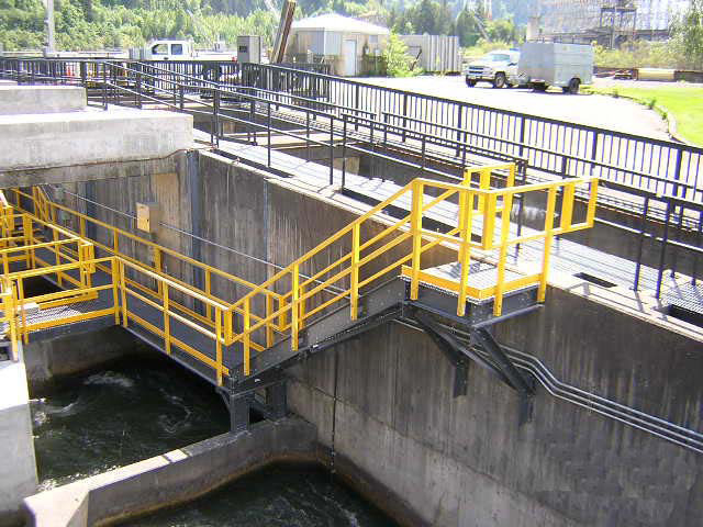Fiber Glass Reinforced Plastic Corrosion Resistant Railing and Stairs in Wastewater Treatment Facility