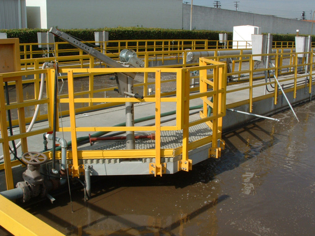 Fiber Glass Reinforced Plastic Corrosion Resistant Railing and Molded Grating in Wastewater Treatment Facility